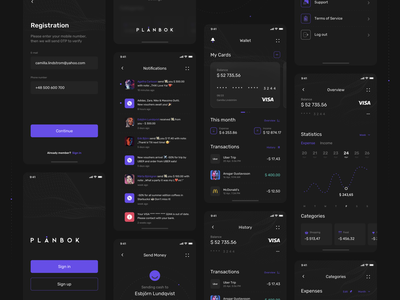 Plånbok - Wallet app concept 💸 walletapp wallet uiux ux ui mobile kit darktheme darkmode app
