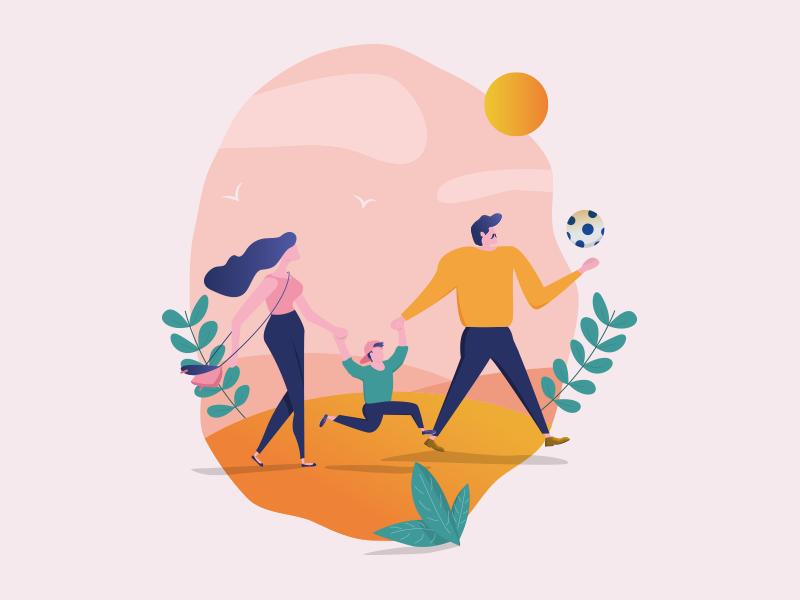 Family illustration by Daniel Jędrzejczyk on Dribbble
