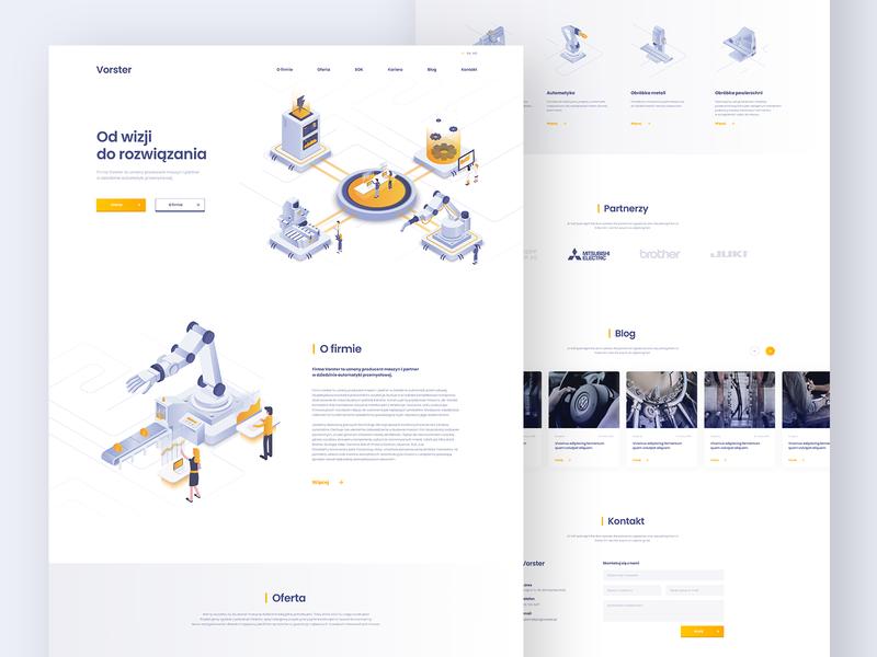 Vorster Landing Page machines robotics automatic gradient webdesign illustration people landing website ui design