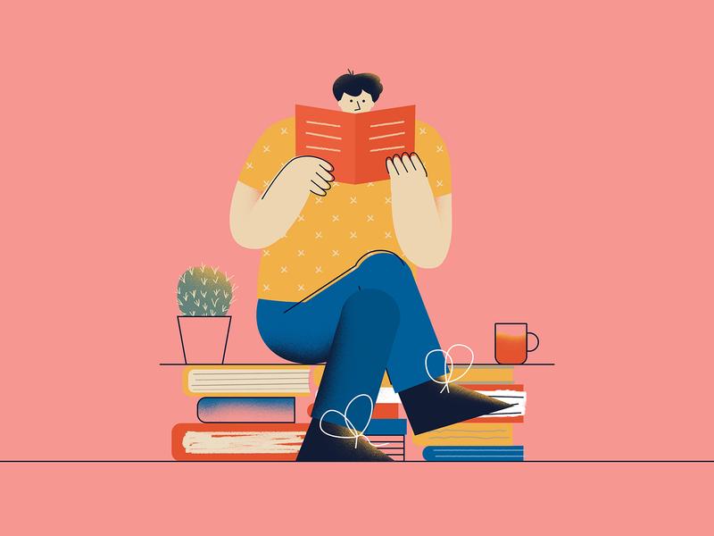 Books #1 flat reading book illustration people
