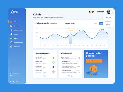 Qlink Dashboard transport ui ux profile platform interface illustration logistics design dashboard