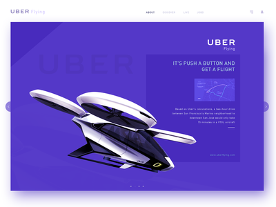 Uber Flying Home Page aircraft creative  design home page live drone design app flying car uber ux ui creative design