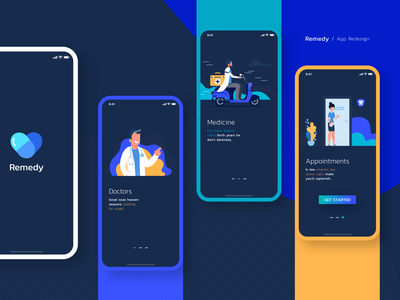 Redesign Remedy App ios doctor app ux ui creative design heal care drug medico physician clinic hospital surgeon cure illness remedy health medicine medical doctor
