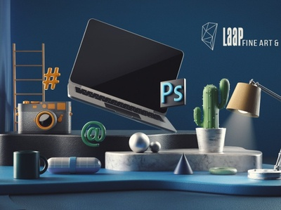 Cover photo for Laap Photography camera blue camera icon camera logo render laptop abstract rendering illustration design photography