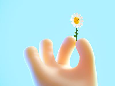 Fat (but cute) hand graphic design 3d flower cartoon hand toy render cute illustration design