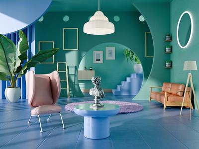 Interior Design design illustration abstract render rendering fowers place interior room graphic design 3d