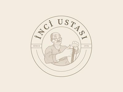 İNCİ USTASI - Logo Design illustration art graphicdesign craftsman glasses old brown portrait master pearl jeweler illustration turkey logodesign digital drawing brkckroglu creative design art