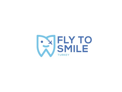 FLY TO SMILE - Logo Design agency global fly tooth hospital blue turkey logodesign application digital drawing new brkckroglu creative design art