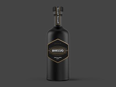 HAMPSTEAD - Concept Design illustration agency label black gold verpakking whiskey digital mockup bottle drawing brkckroglu creative design concept