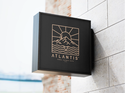 ATLANTIS - Logo Design mountain sun water black digital turkey logodesign minimalist drawing new brkckroglu creative design art