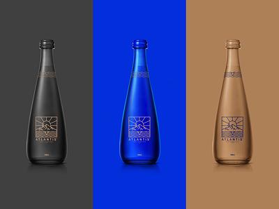 ATLANTIS - Bottle Design neon bottle premium black blue water turkey logodesign application digital drawing new brkckroglu creative design art