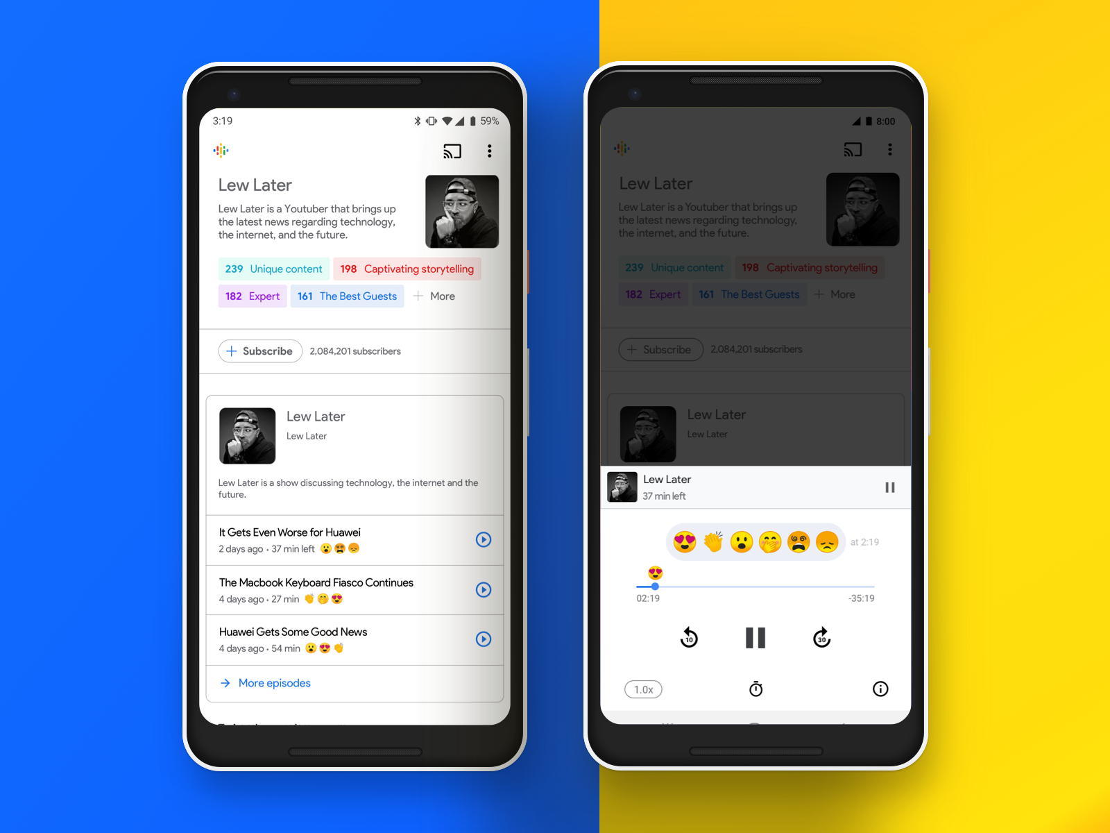 Google Podcast React Feature UI