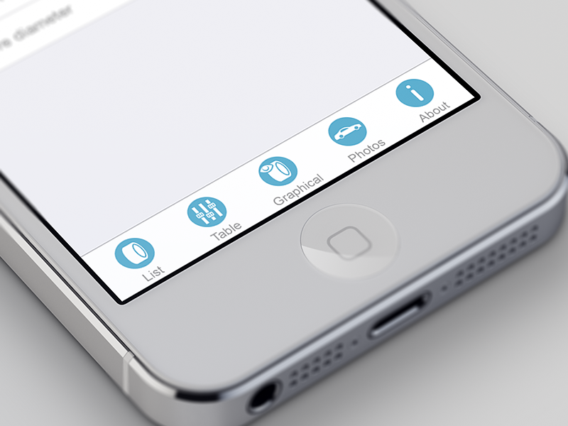 stancity tab icons icon stancity design app mockup screen blue white wheel car info ios7