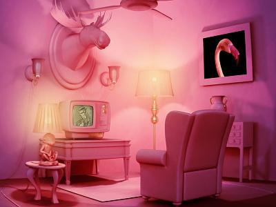 Kitsh Room c4d room pink kitsh illustration 3d