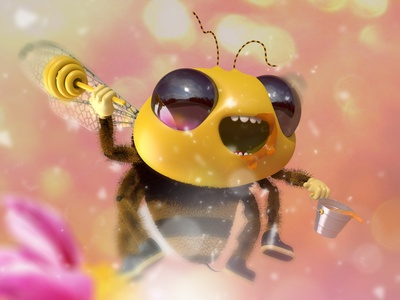 Be Like a Bee belikeabee bee arnold render zbrush guille-amengual concept-art character-design character visuals design cinema4d render londonagency london digitalart characterdesign illustration c4d 3d