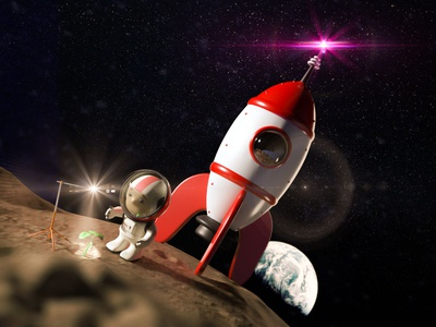 In To The Moon guille-amengual character arnold render render cinema4d london londonagency digitalart characterdesign illustration c4d 3d