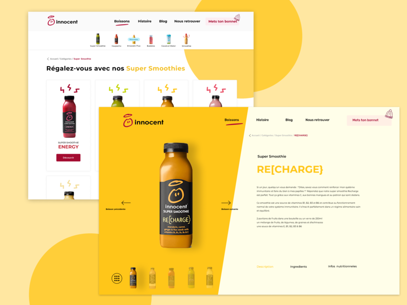 Innocent's products page concept innocent product figma website webdesign smoothies drinks redesign creative design creative web ui