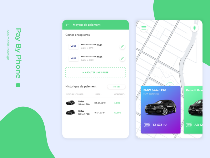 PayByPhone card payment car ux ui mobile redesign design app studio
