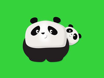 Panda Family panda bear panda logo baby panda illustrator logo animal cute illustration pandas panda
