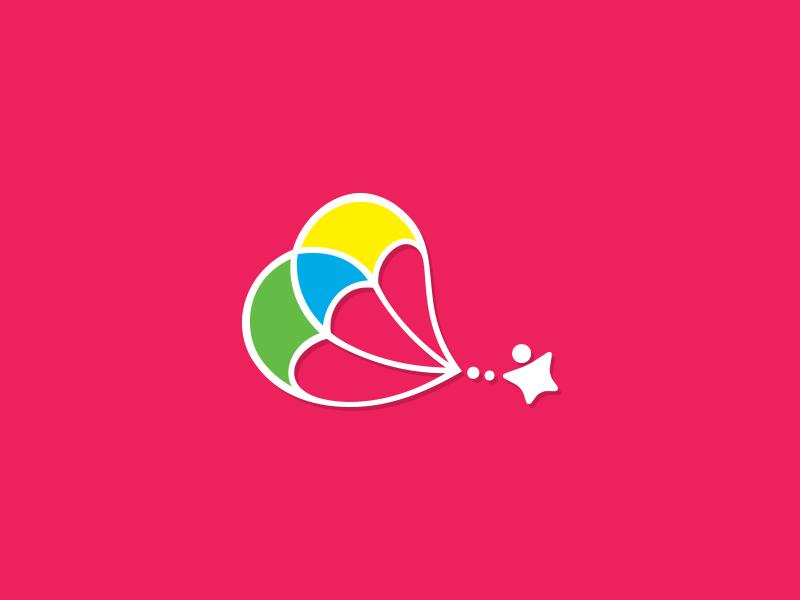 Parachute Logo fun pink vibrant colorful logomark logo preschool kids children star paragliding parachute illustrator illustration