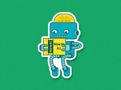 Artificial Intelligence robot book learning machine bot development simple illustration sticker