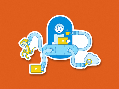 The automation UFO troubleshooting cloud laptop apm automated monitoring coffee monkey dynatrace simple sticker illustration