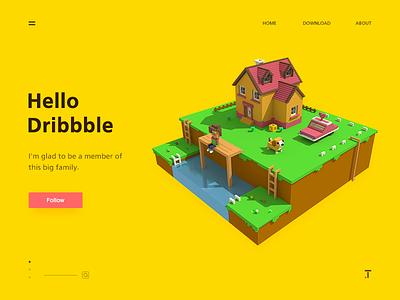 Hello Dribbble ui isometric magicavoxel illustrations dribbble 3d