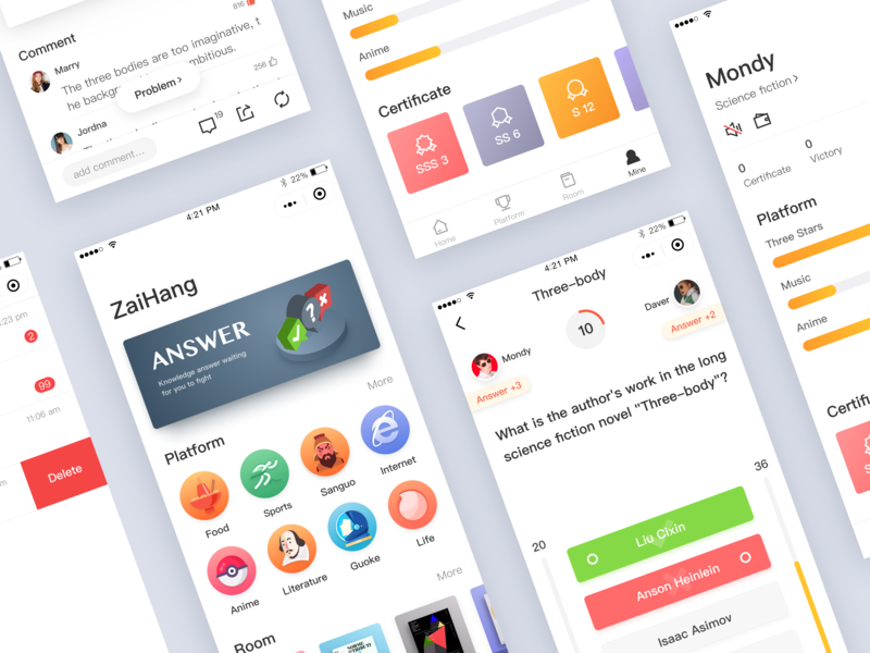 Knowledge quiz application mix battle gamification interest 可视化 插图 应用 dribbble ux ui