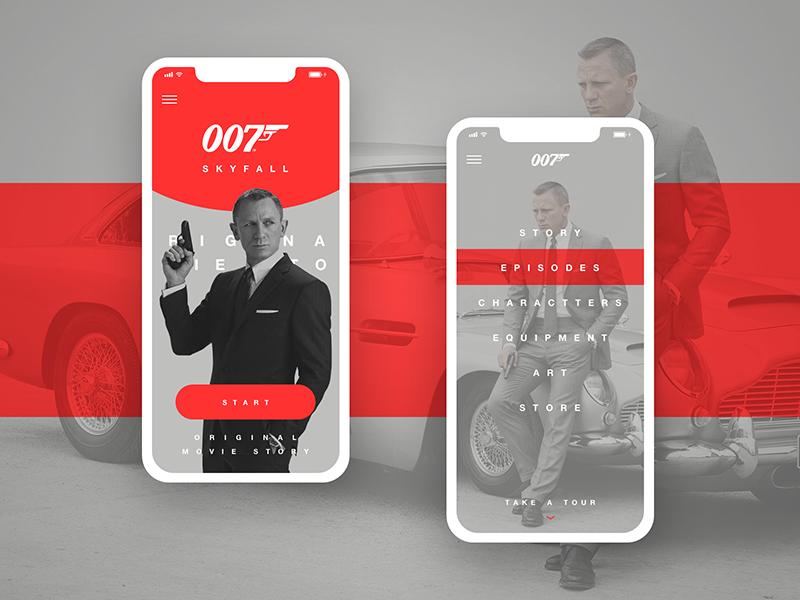 007: Skyfall movie app concept sketch ui ux concept app