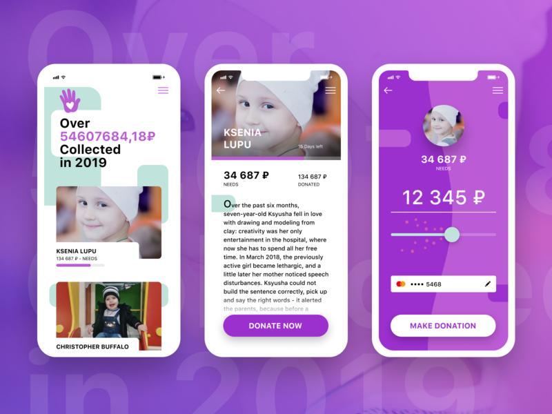 Donation App Concept ux ui sketch concept app