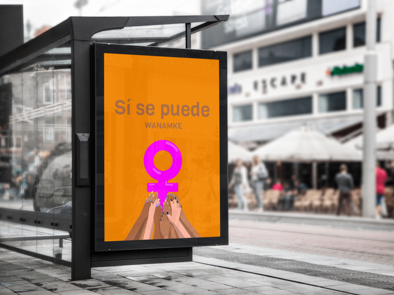 Wanamke Campaign african feminism billboard poster print pink pride illustration design download adobe ui xd