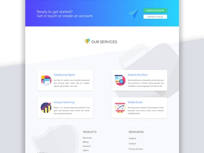 Landing Page | Services + Footer Sections