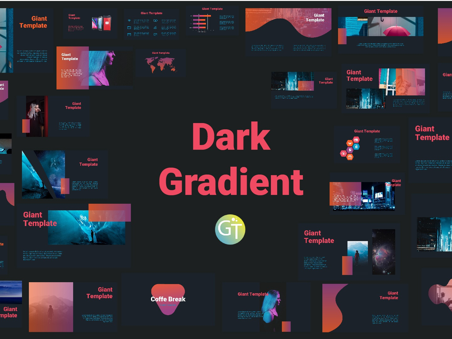 Dark Gradient Free Powerpoint Download Template By Giant