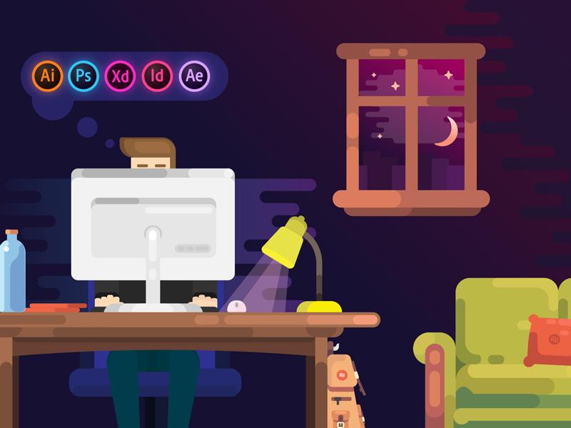 Working computer pc night graphic designer character room flat flat design illustration adobe illustrator