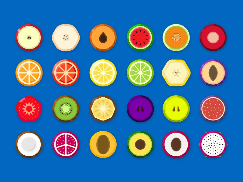 Fruicon peach banana lemon watermelon apple flat design flat icons icon fruits