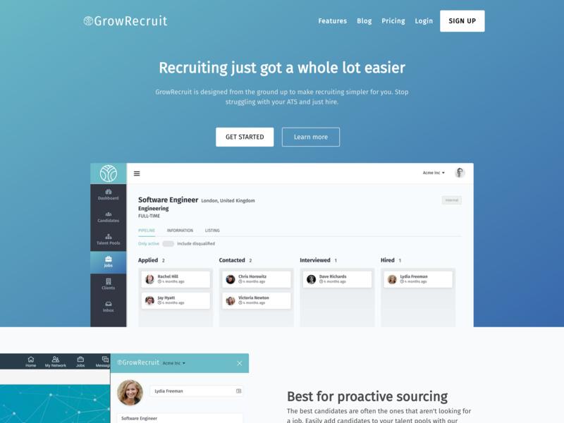 GrowRecruit Website Design saas landing page gradient color web design