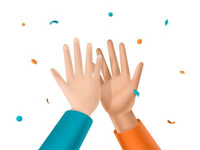 High Five! hand celebrate hands postcard confetti clean high five procreate illustration
