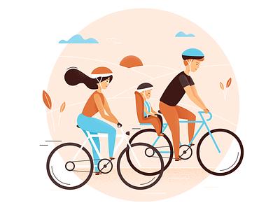 Bike trip illustration design ride bike trip sunset family bike vector illustration