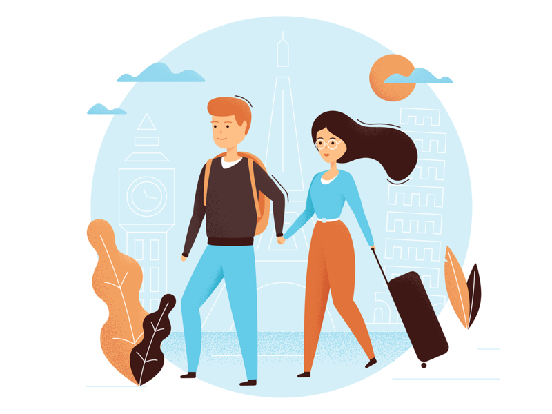 Travel Illustration adobe citybreak city trip design ilustrator family characer vector illustration