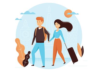 Travel Illustration adobe citybreak city trip design ilustrator family characer vector illustration