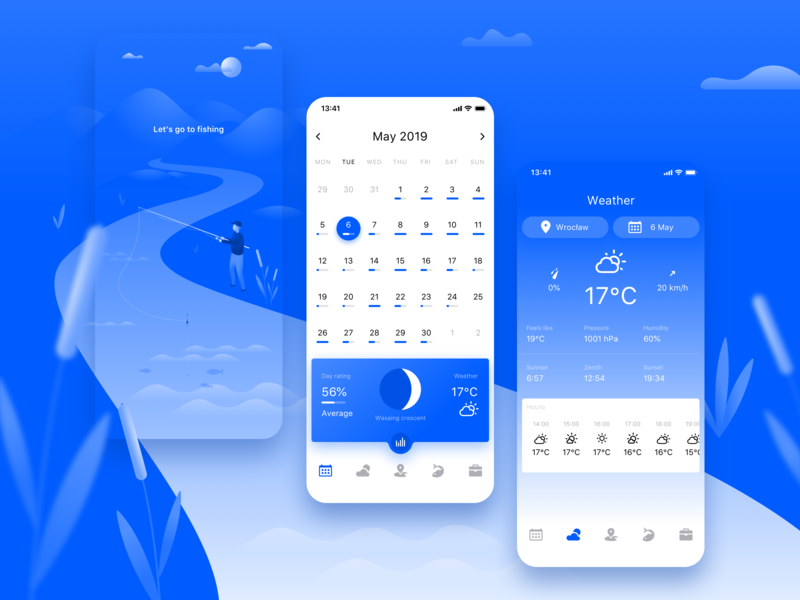 Fishing Calendar App clean app sketch clean vector blue mobile design fishing application calendar illustration dailyui ios app ui ux