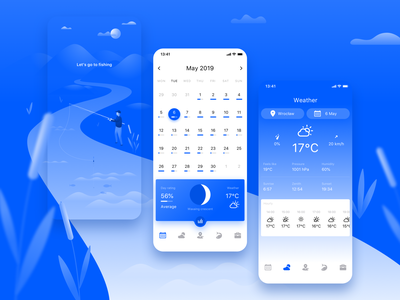 Fishing Calendar App clean app sketch clean vector blue mobile design fishing application calendar illustration dailyui ios app ui ux