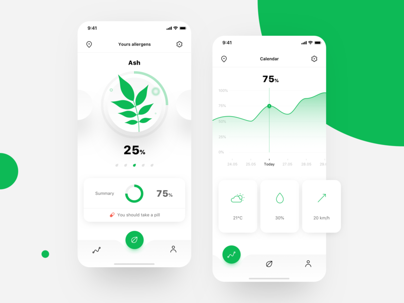 Pollen allergy tracker app allergy design ui clean app