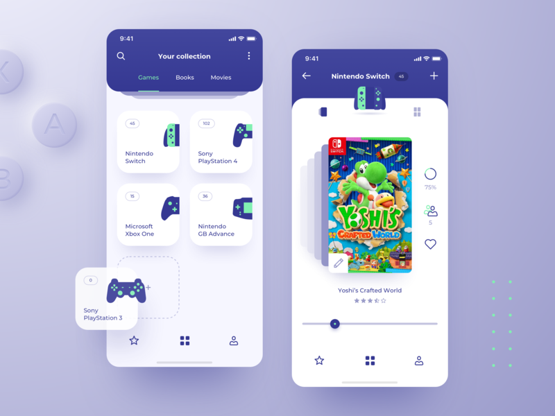 App for collectors games nintendo collectors clean application ui design app