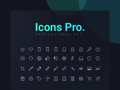 Icons Pro. print set e-commerce apps mobile interface website vector web line icons