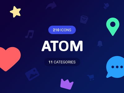 ATOM Icons set! website web vector set print mobile line interface icons e-commerce apps