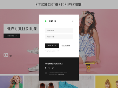 Sign in! ui web interface stile clothes shoes form design form e commerce sing in site design