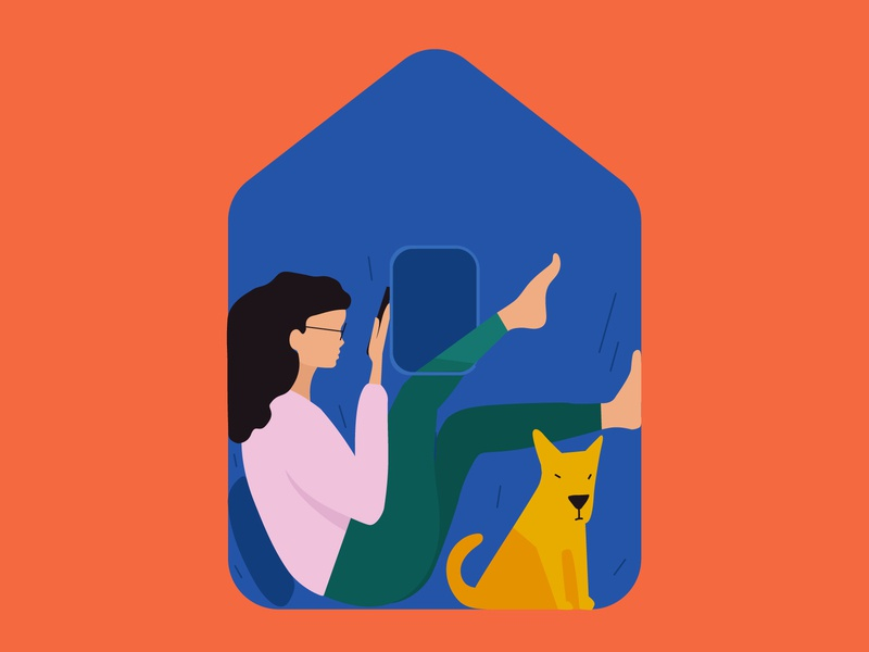 stay home alone home dog minimal woman editorial illustration vector flat illustration
