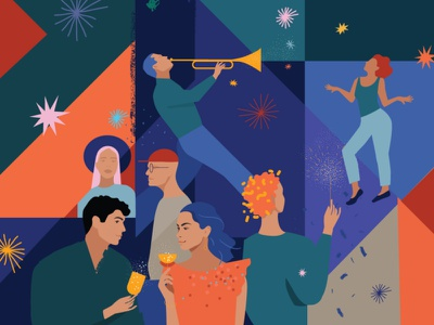 Party music drinks people holiday holidays party editorial illustration vector flat illustration