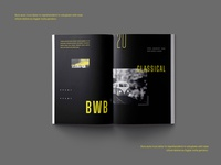 BWB Magazine Layout blackandwhite branding grayscale bw magazine design print design editorial adobe indesign editorial layout creative design